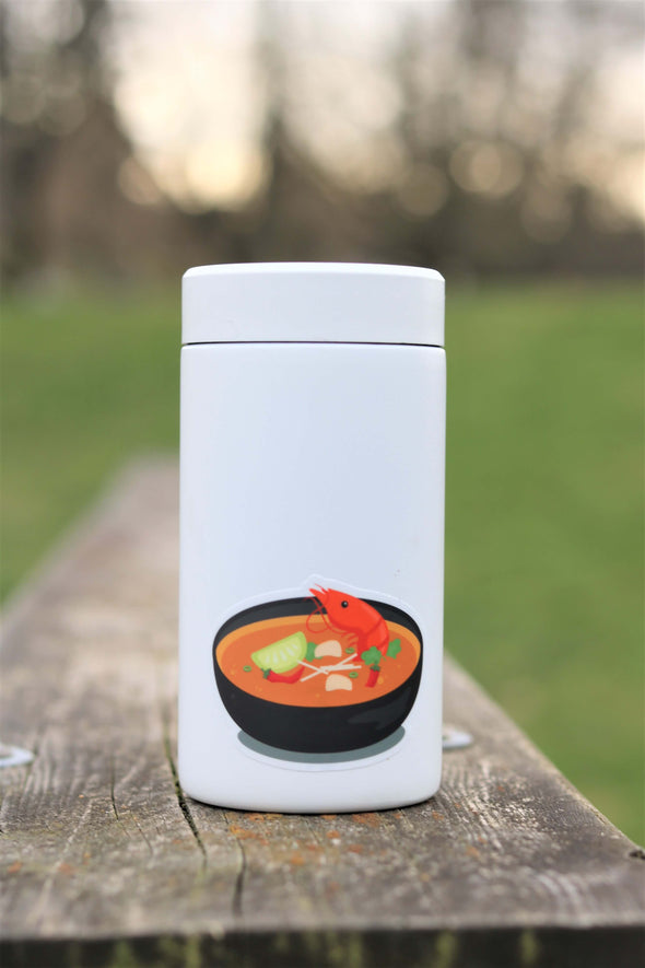 tom yum soup sticker on water bottle