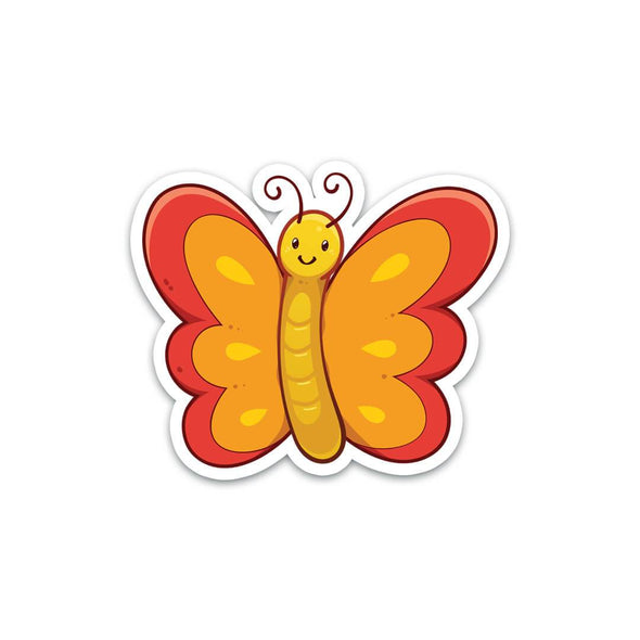 Red And Orange Butterfly Sticker - Soshl Tags