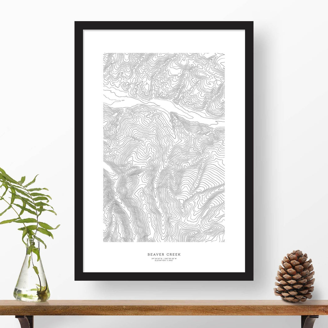 Framed print of Beaver Creek featuring a topographic map of the ski area.