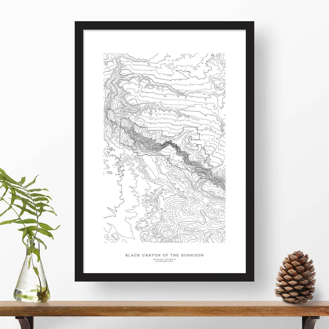 Topographic map of Black Canyon of the Gunnison National Park with a black frame.