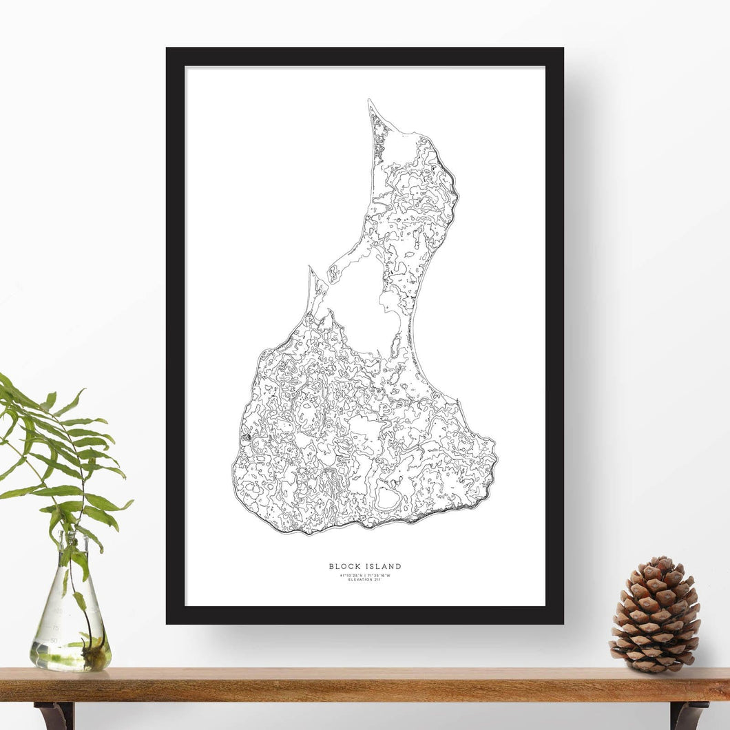Block Island, Rhode Island topographic map poster, 24 inches by 36 inches, in a vertical orientation, with a black solid wood ready-to-hang frame.