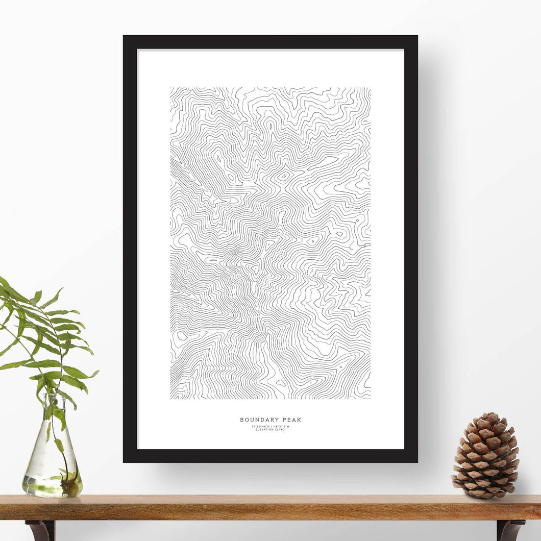 Boundary Peak, Nevada topographic map poster, 24 inches by 36 inches, in a vertical orientation, with a black solid wood ready-to-hang frame.