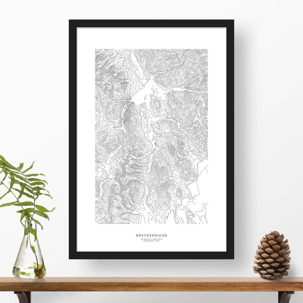 Breckenridge ski area topographic map poster, 24 inches by 36 inches, in a vertical orientation, with a black solid wood ready-to-hang frame.