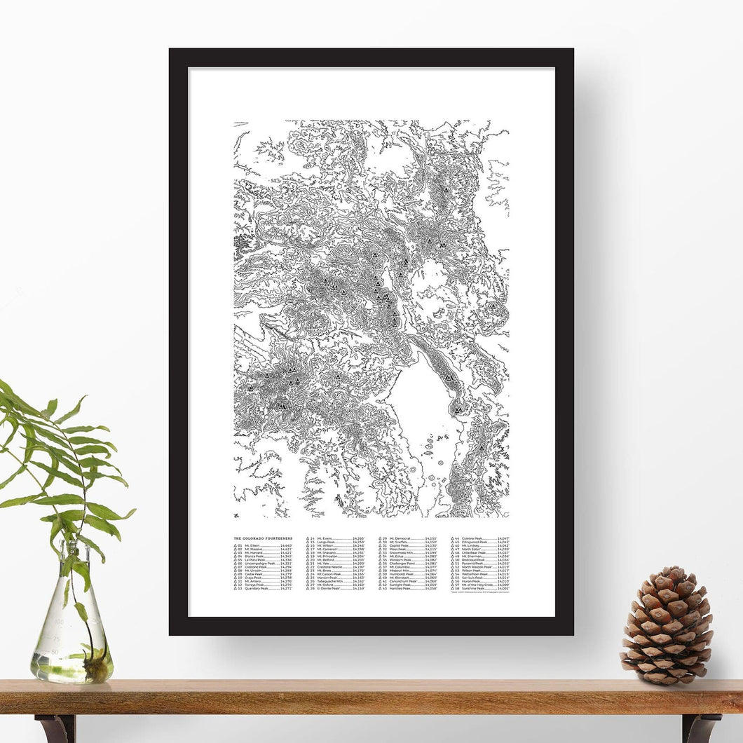 Colorado 14ers topographic map poster, 24