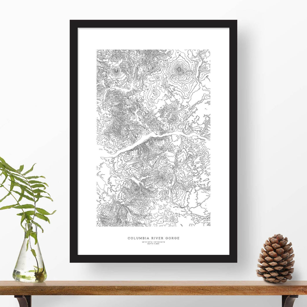 Framed poster print of the Columbia River Gorge in Washigton and Oregon featuring a topographic map.