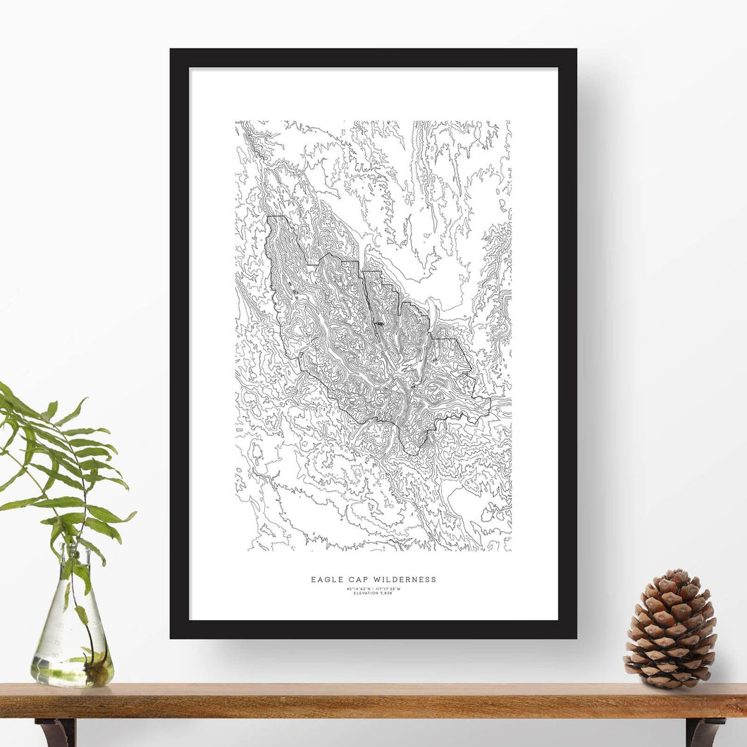 Topographic map of Eagle Cap Wilderness, Oregon with a black frame.
