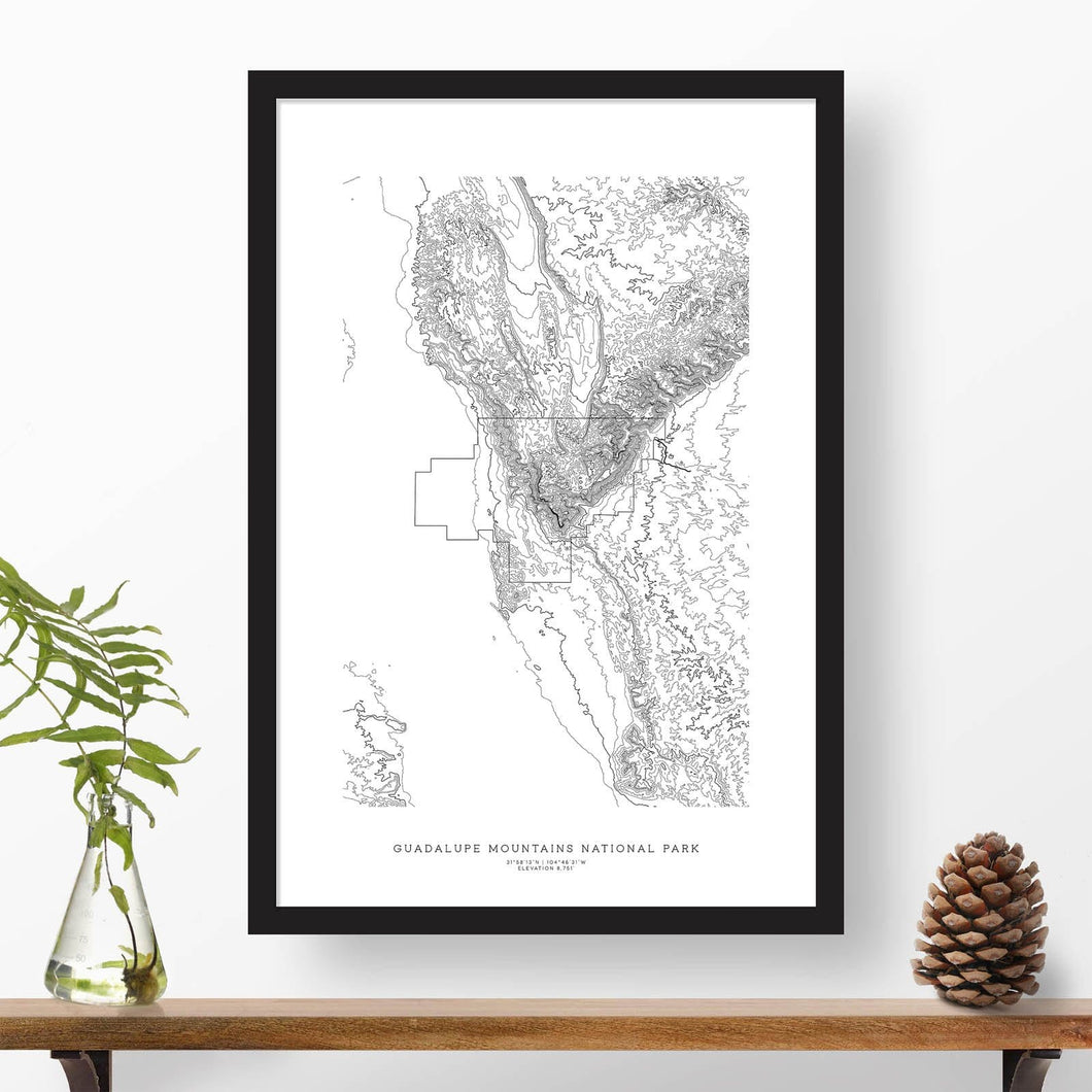 Topographic map of Guadalupe Mountains National Park with a black frame.