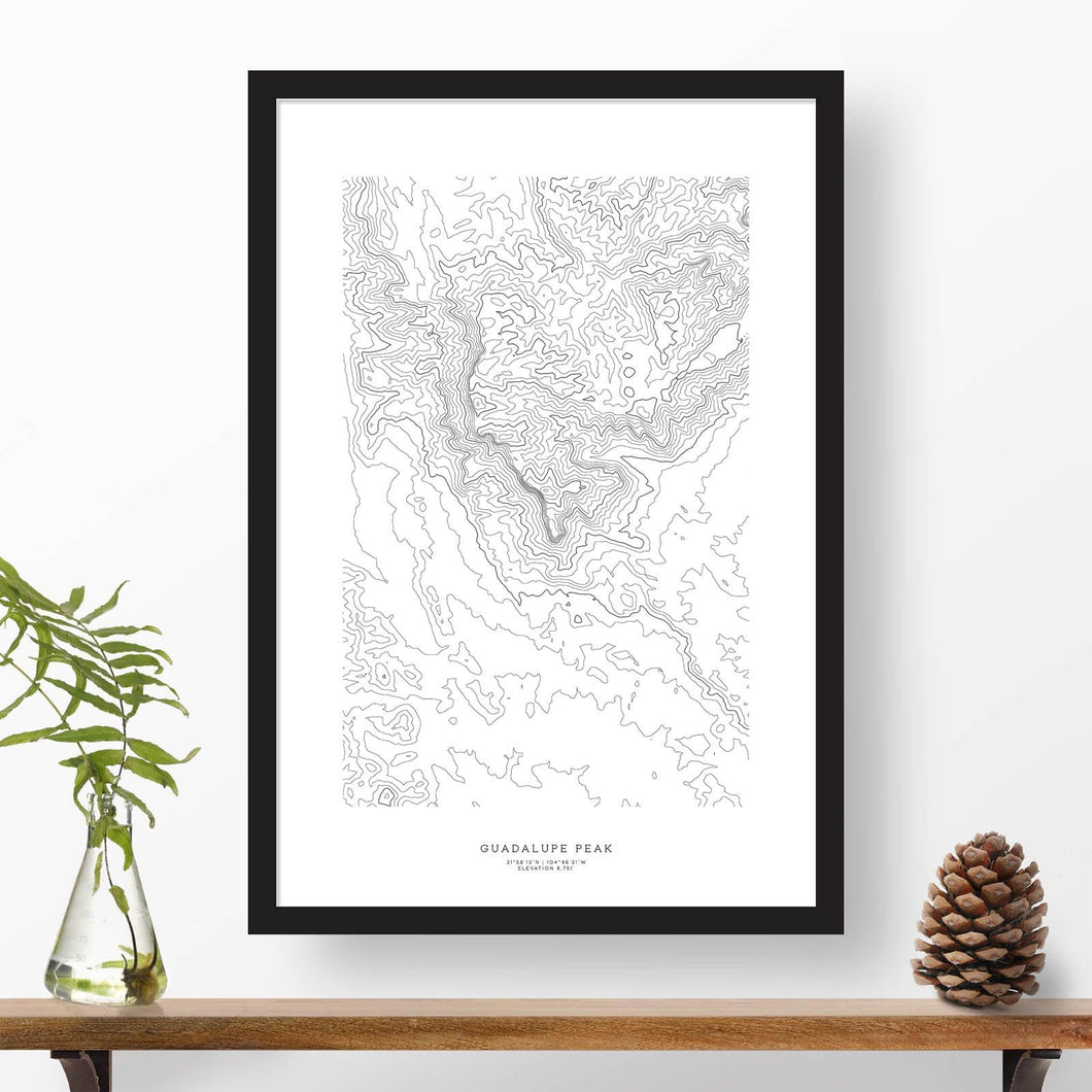 Topographic map of Guadalupe Peak with a black frame.