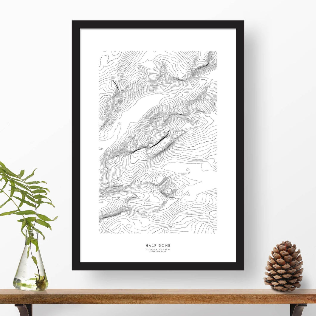 Half Dome, Yosemite topographic map poster, 24 inches by 36 inches, in a vertical orientation, with a black solid wood ready-to-hang frame.