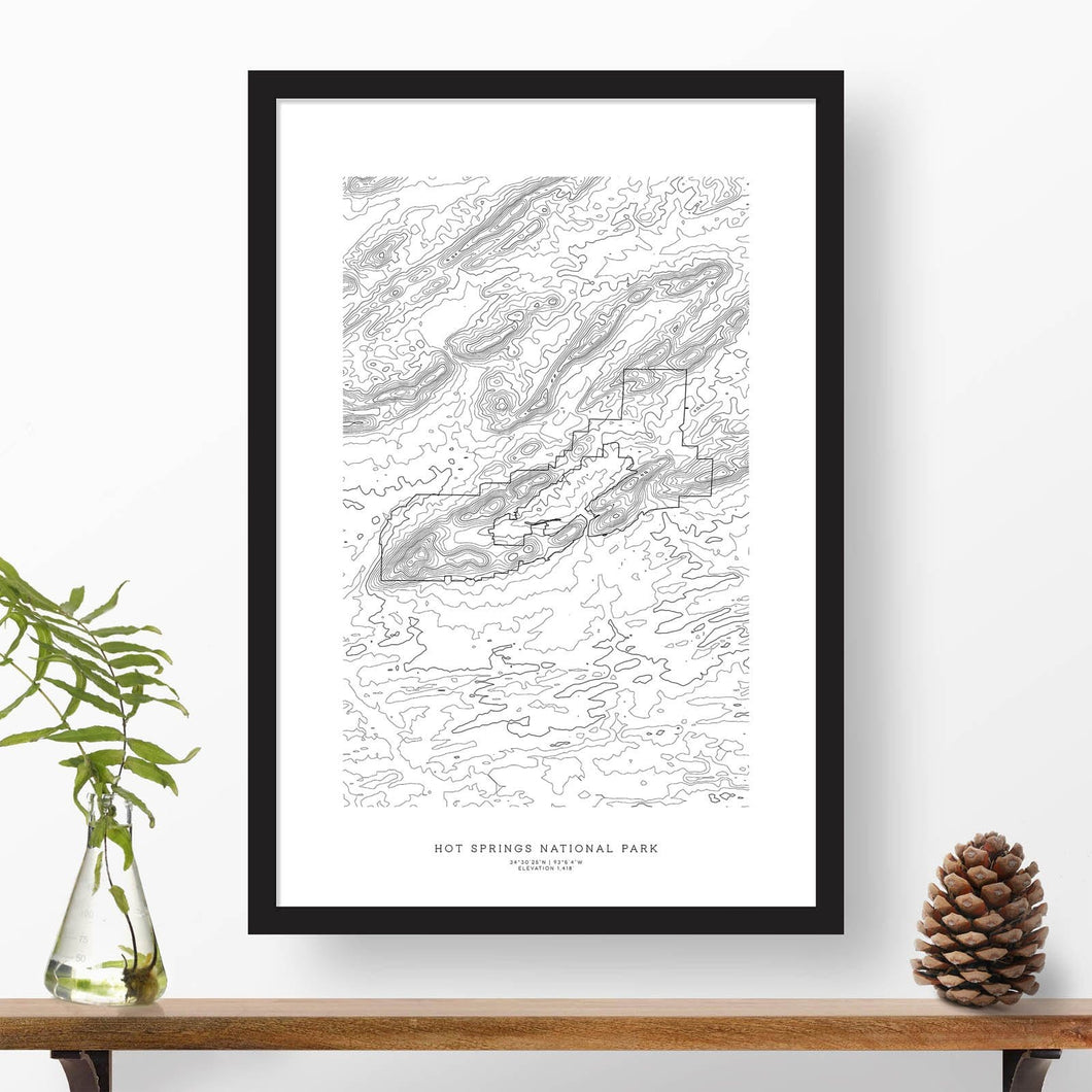 National park print of Hot Springs National Park with black and white topography in a black 24x36 vertical frame.