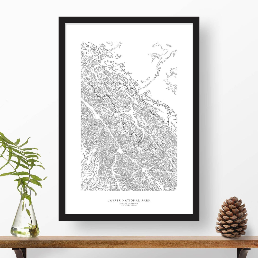 Jasper National Park topographic map poster, 24 inches by 36 inches, in a vertical orientation, with a black solid wood ready-to-hang frame.