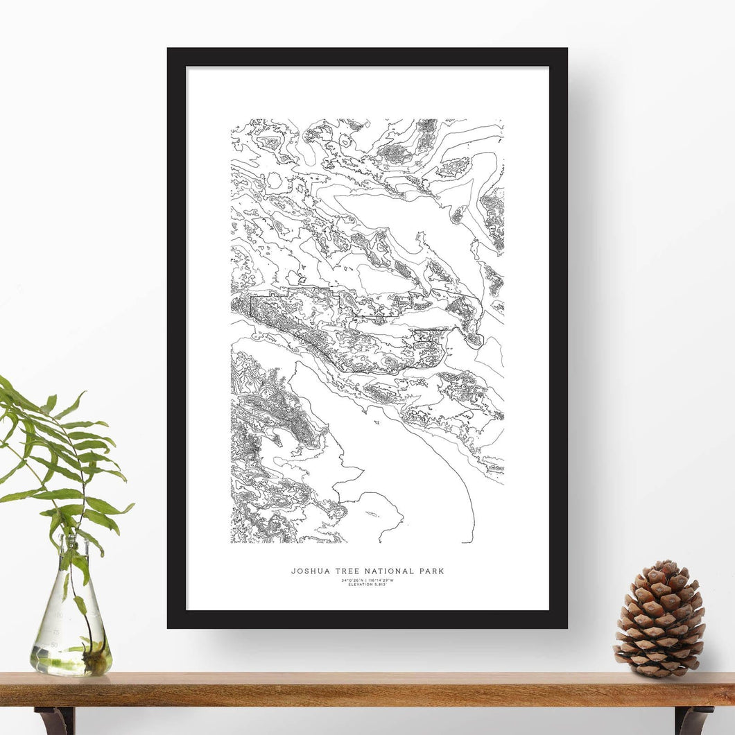 Topographic map of Joshua Tree National Park with a black frame.