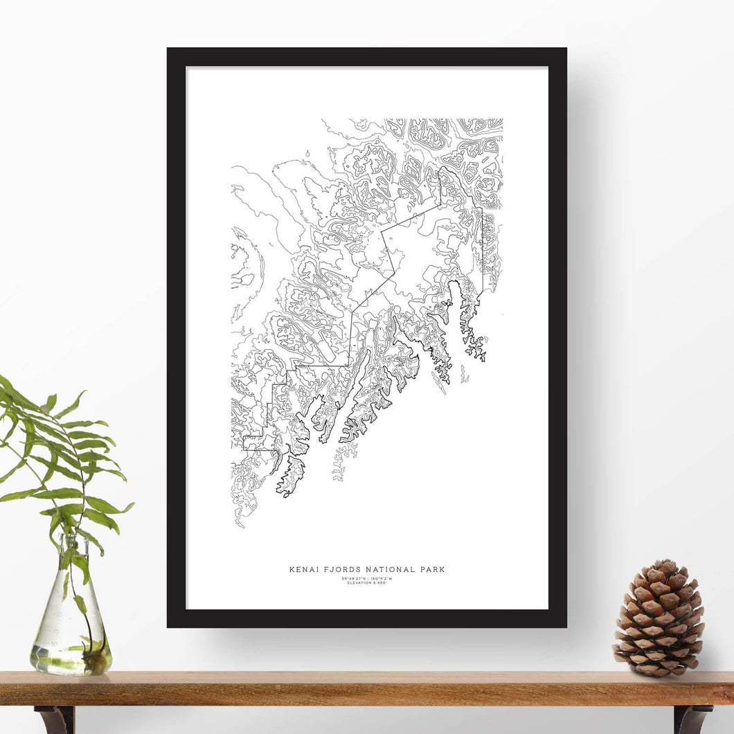 Kenai Fjords National Park topographic map poster, 24 inches by 36 inches, in a vertical orientation, with a black solid wood ready-to-hang frame.