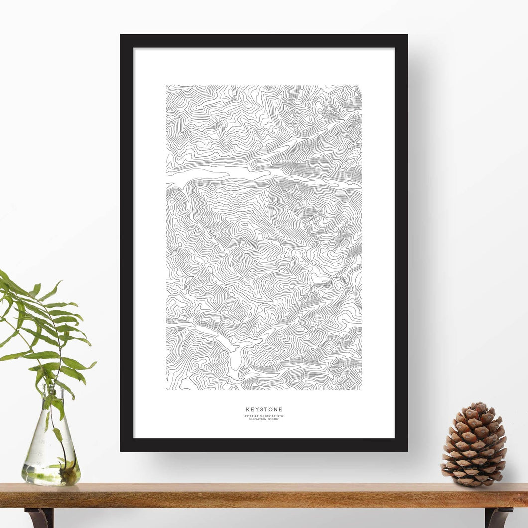 Keystone Ski Resort topographic map poster, 24 inches by 36 inches, in a vertical orientation, with a black solid wood ready-to-hang frame.