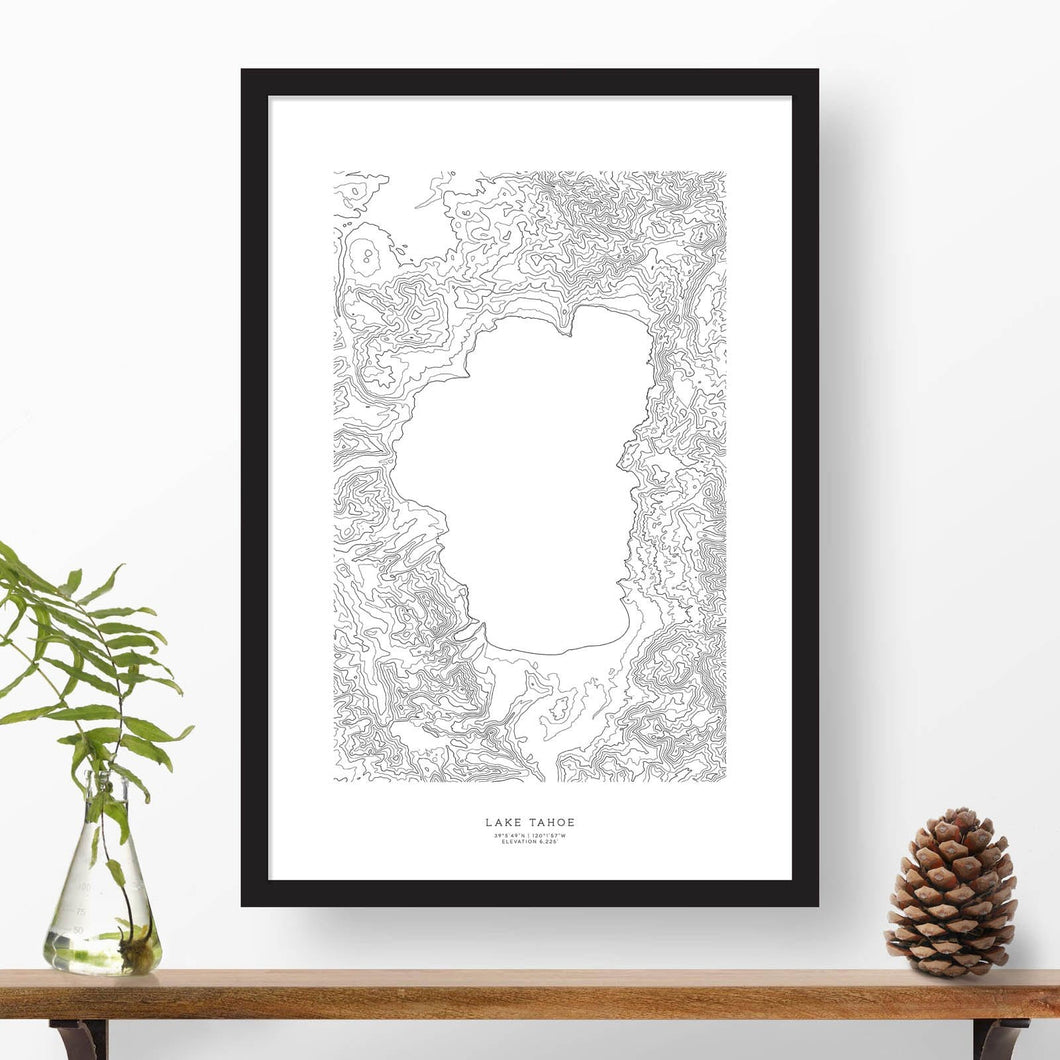 Topographic map of Lake Tahoe with a black frame.
