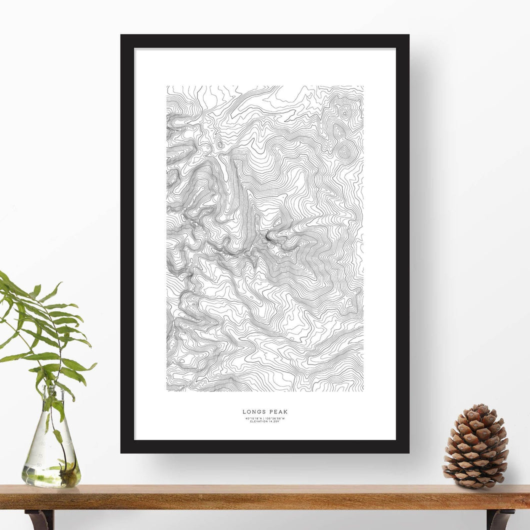 Black and white map and travel art of Longs Peak, Colorado. Topography contours are in black on a white background. Text below the image can be personalized for a perfect custom map art gift idea.