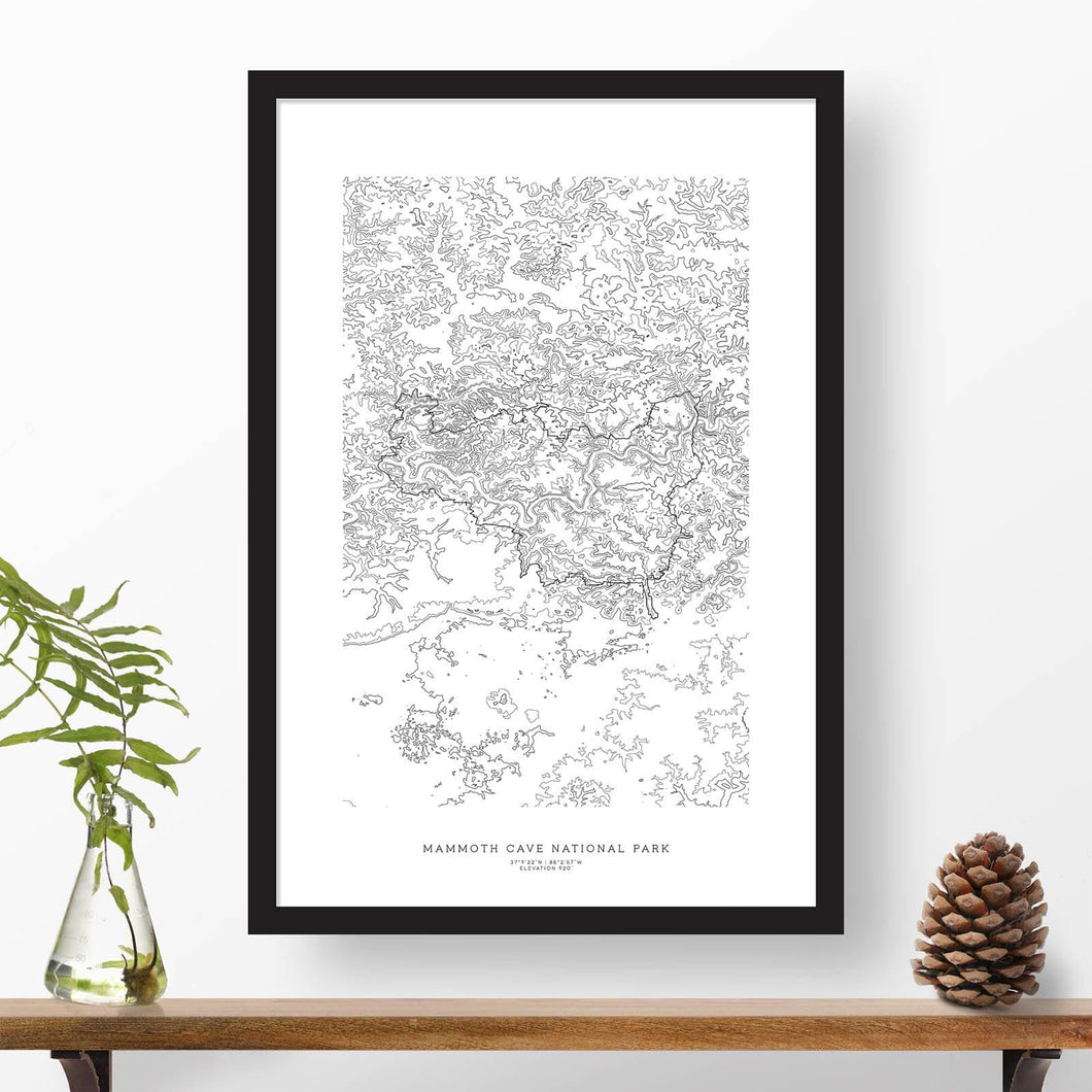 Framed print of Mammoth Cave National Park featuring a topographic map.