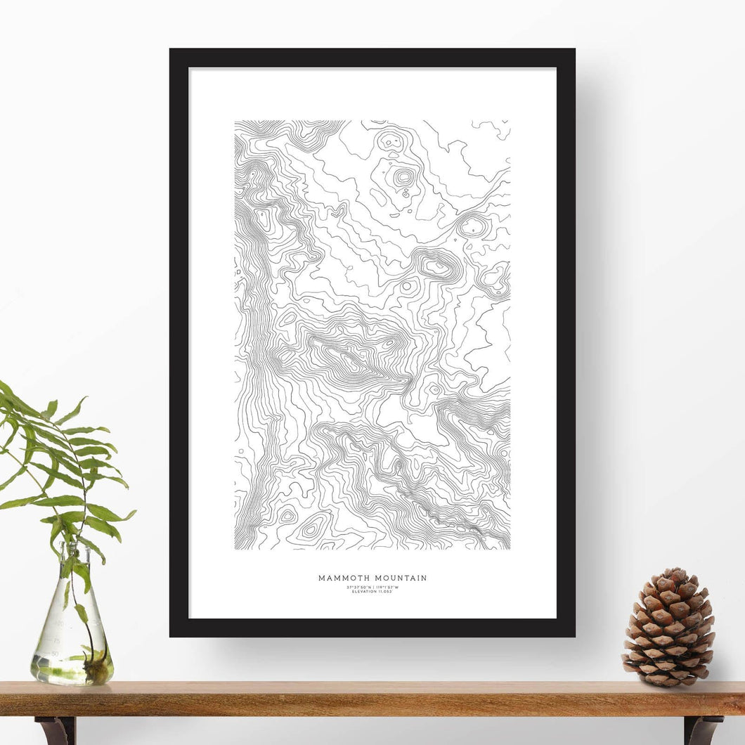 Topographic map of Mammoth Mountain with a black frame.