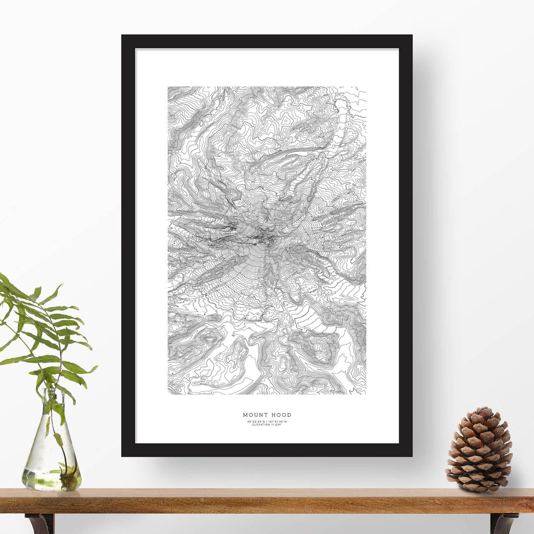 Mount Hood, Oregon topographic map poster, 24 inches by 36 inches, in a vertical orientation, with a black solid wood ready-to-hang frame.
