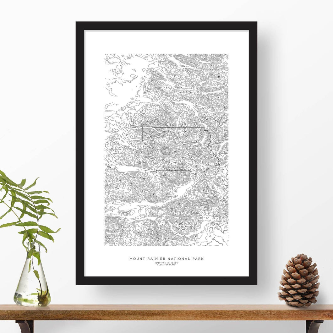 Mount Rainier National Park topographic map poster, 24 inches by 36 inches, in a vertical orientation, with a black solid wood ready-to-hang frame.