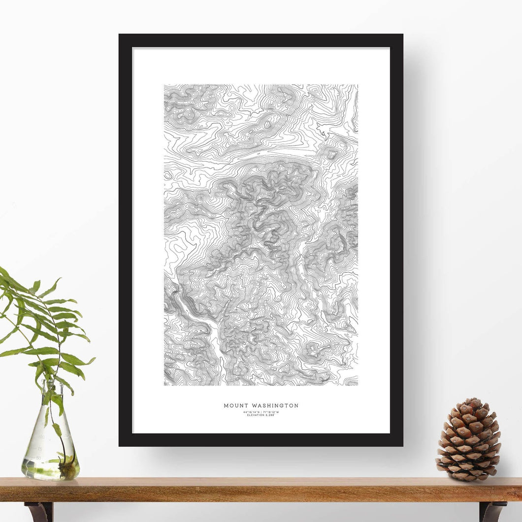 Topographic map of Mount Washington, New Hampshire with a black frame.