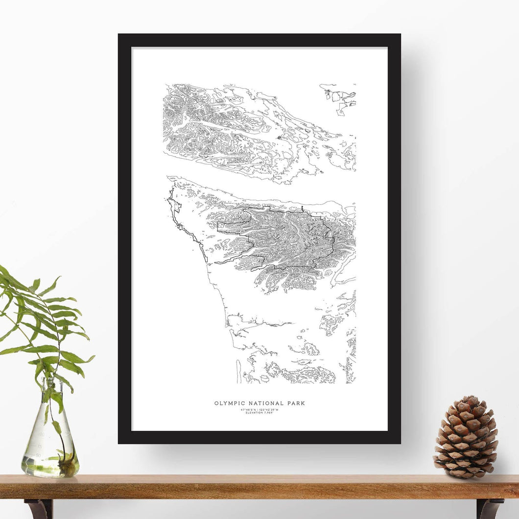 Topographic map of Olympic National Park with a black frame.