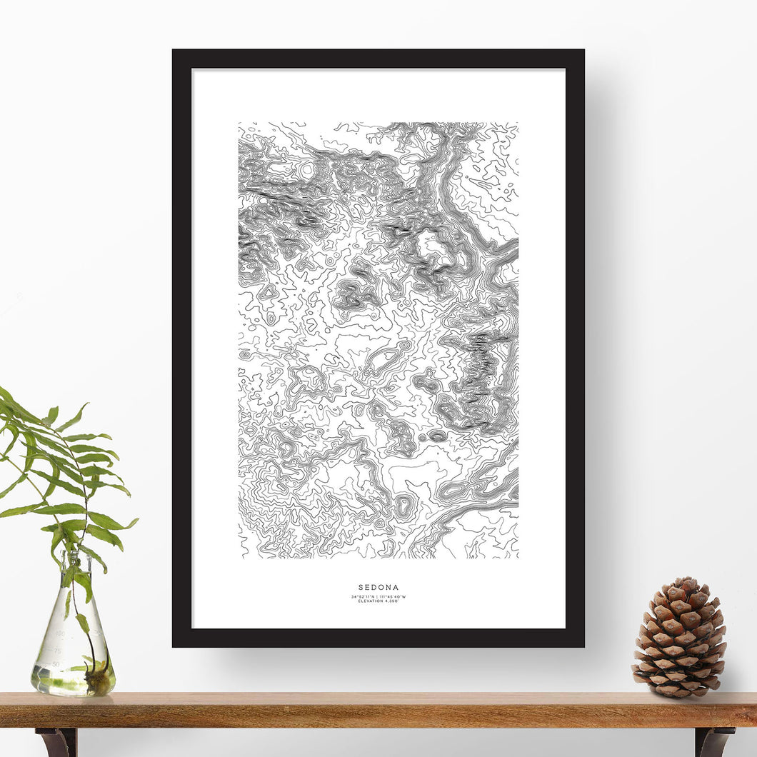 Framed print of Sedona, Arizona featuring a topographic map.