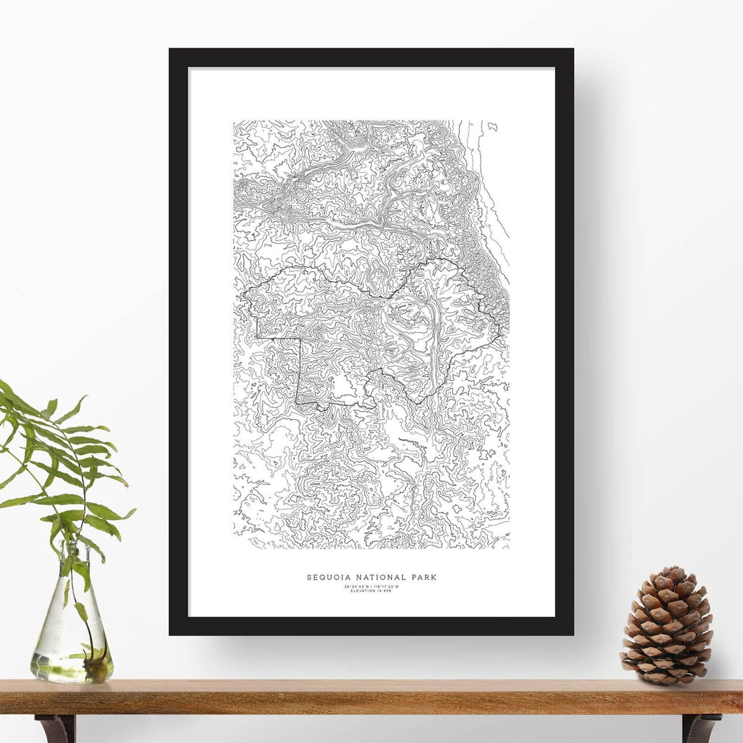 Topographic map of Sequoia National Park with a black frame.