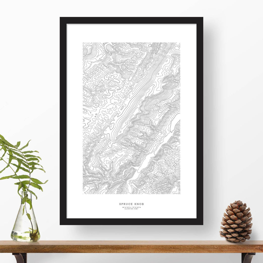Spruce Knob, West Virginia mountain topographic map art poster with black frame.