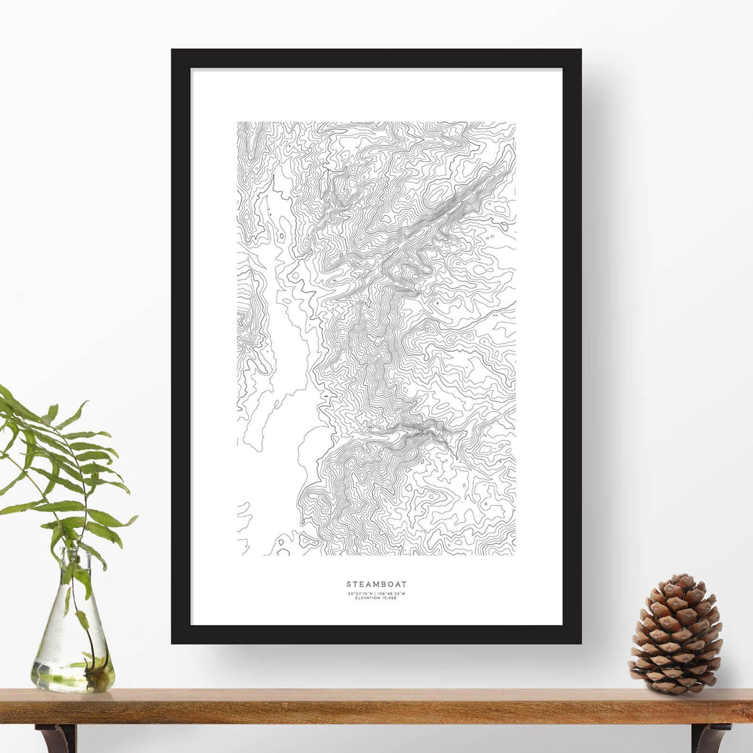 Black and white map and travel art of Steamboat Ski Resort. Topography contours are in black on a white background. Text below the image can be personalized for a perfect custom map art gift idea.