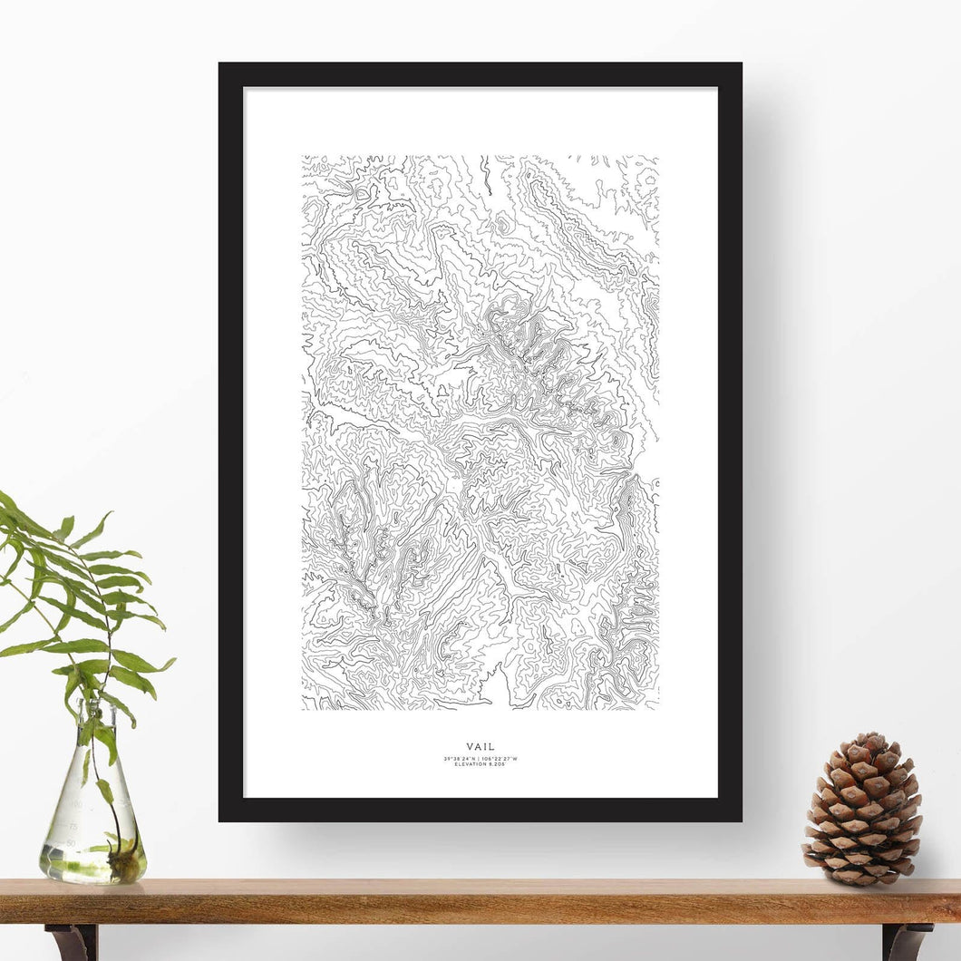 Vail Ski Resort topographic map poster, 24 inches by 36 inches, in a vertical orientation, with a black solid wood ready-to-hang frame.