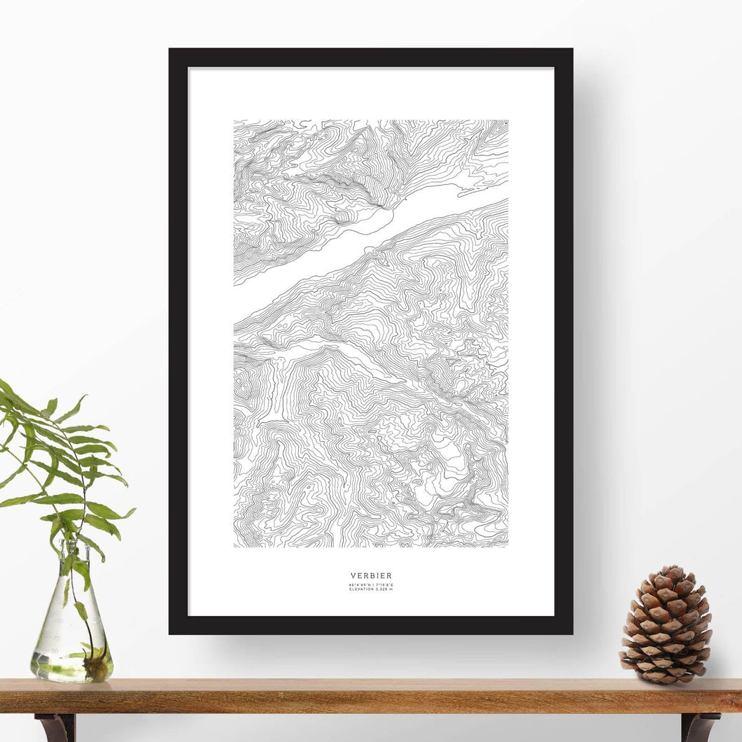 Topographic ski map of Verbier, Swiss Alps, Switzerland with a black frame.