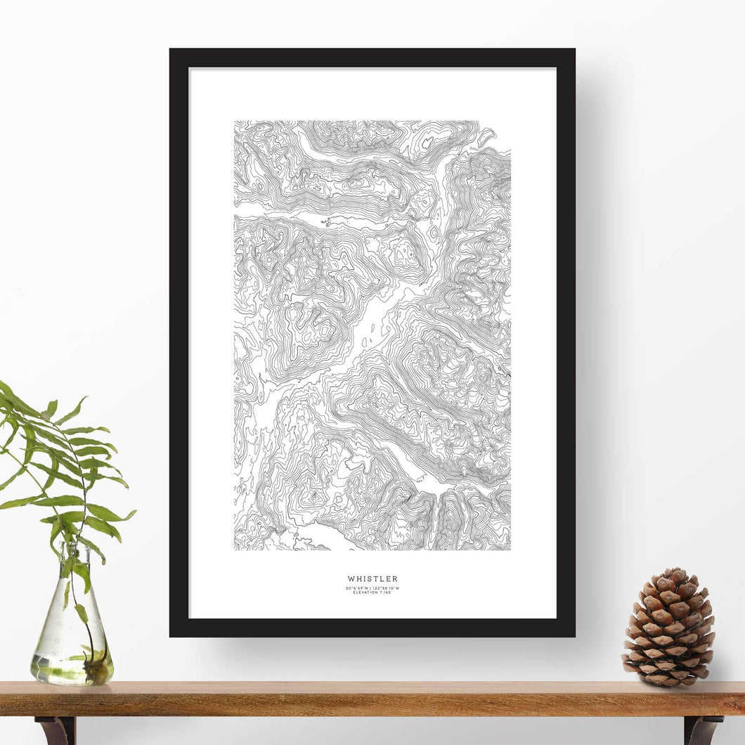 Whistler Ski Resort topographic map poster, 24 inches by 36 inches, in a vertical orientation, with a black solid wood ready-to-hang frame.