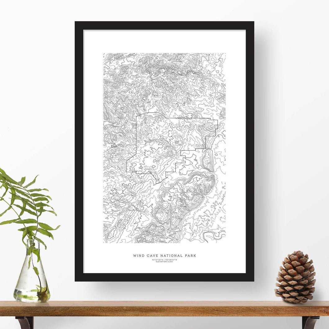 Wind Cave National Park topographic map art poster with black frame.