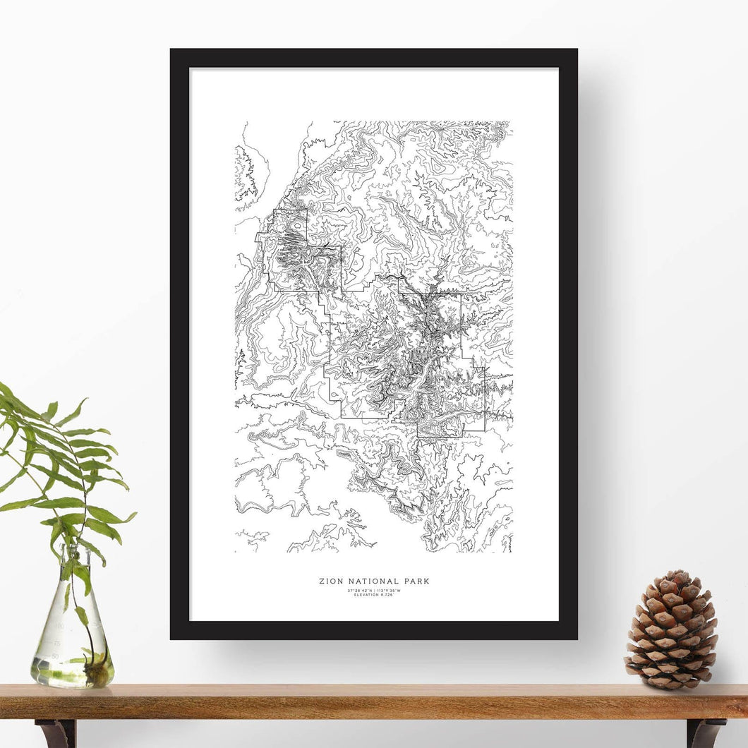 Framed print of Zion National Park featuring a topographic map.
