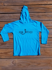 Caribbean blue long sleeve hood youth