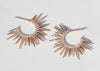 spiky 14k rose gold earrings with pave set diamonds