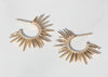 spiky 14k gold earrings with pave set diamonds