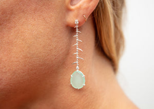nature inspired sterling silver fish bone earrings with diamonds and aqua chalcedony