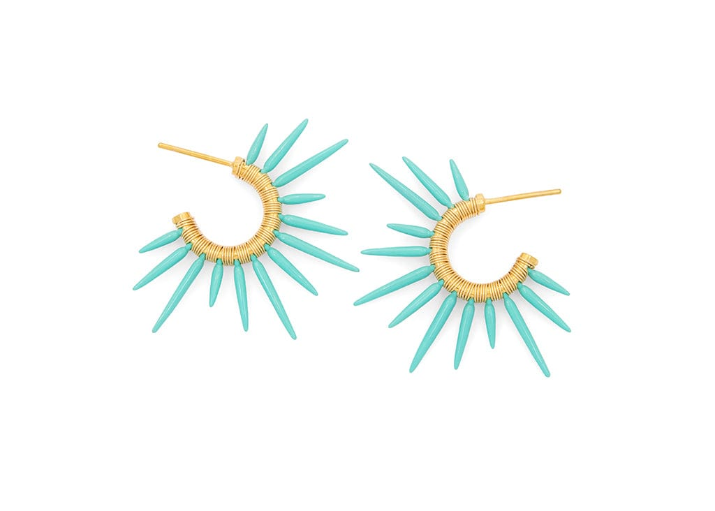 sea foam and gold beach statement earrings