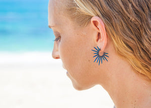 hawaii sea urchin earrings on model