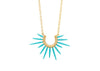 spiky turquoise blue powder coated spike necklace with gold chain