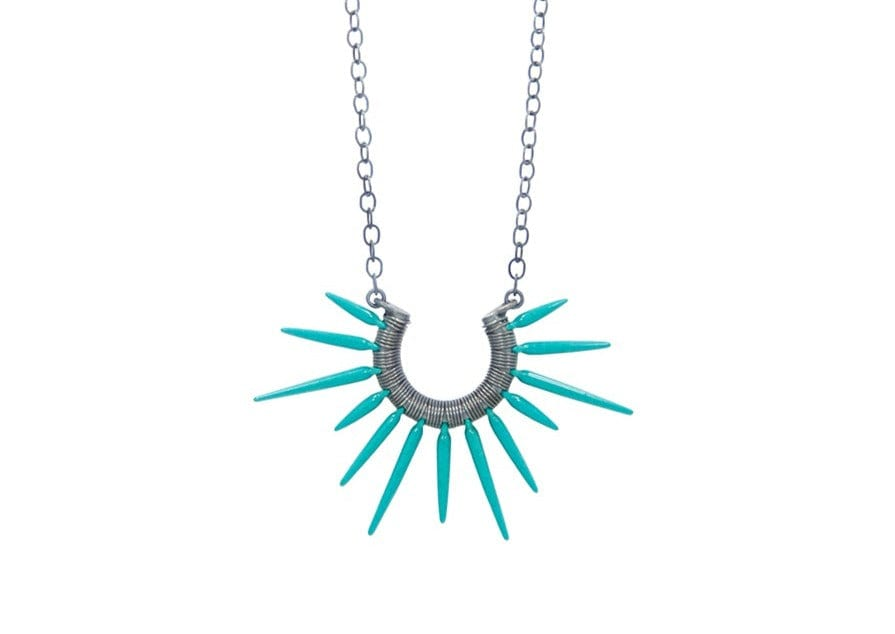 teal powder coated sea urchin spine necklace hawaii