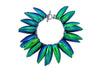 iridescent blue and green scarab beetle wing bracelet on black chain