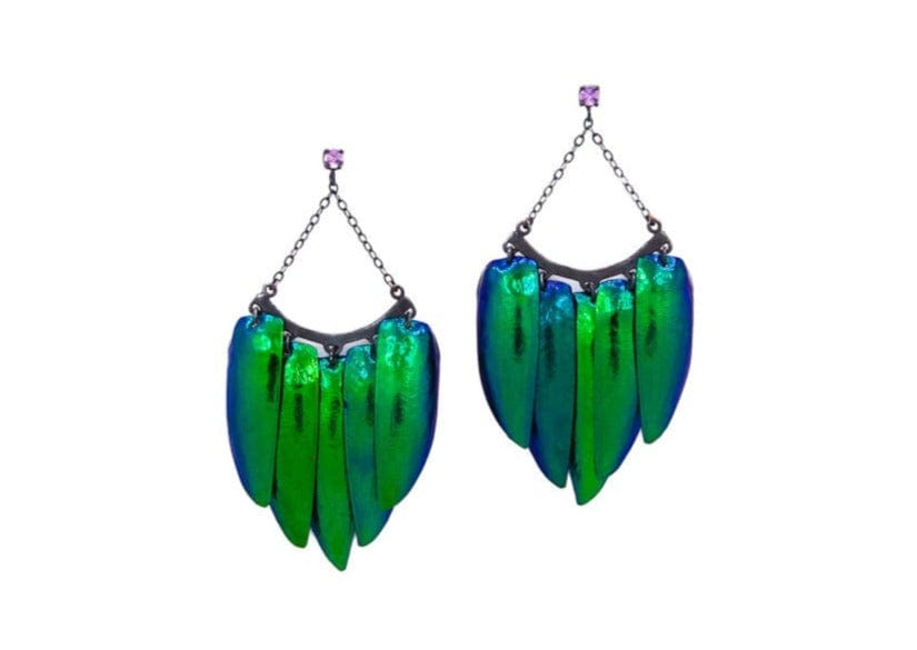 iridescent green scarab beetle wing chandelier earrings