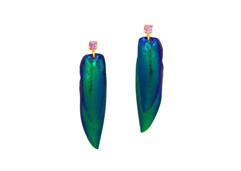 iridescent green scarab beetle wing earrings