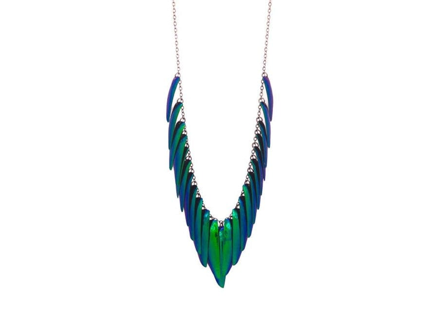 iridescent green scarab beetle wing fringe necklace
