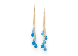 14k gold swiss blue topaz earrings