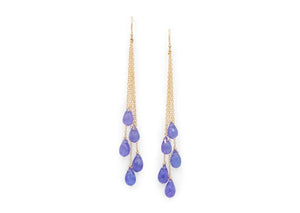 14k gold tanzanite dangle earrings
