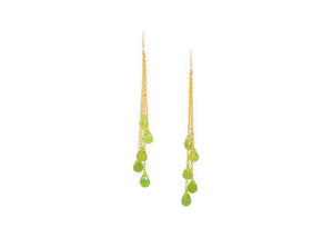 dangly earrings made from lime green teardrop shaped gemstones wire wrapped to vermeil chain
